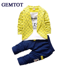 Фотография Toddler Baby Boy Formal Clothing Wear Fashion Set 2016 Newest Yellow Boys Clothes Suit 2PCS Children