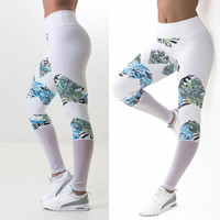 White Print Mesh Splice Women Sports Gym Workout Track Compression Running Pencil Pants Sportswear Fitness Elastic Leggings