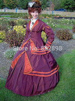 1800s Victorian Gown 1867 Walking Traveling Suit 1860s Civil War Dress Skirt Jacket Bodice Period Costumes