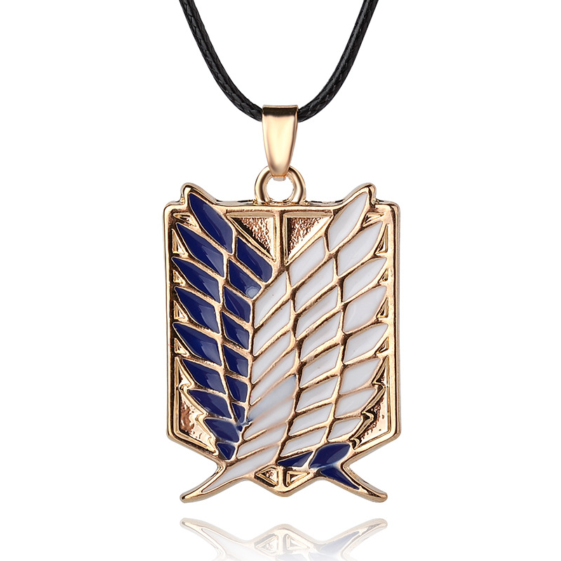 Anime Peripheral Pendant Necklace Attack on Titan Scout Regiment Logo Necklace Survey Corps Erwin Smith Accessories Jewelry
