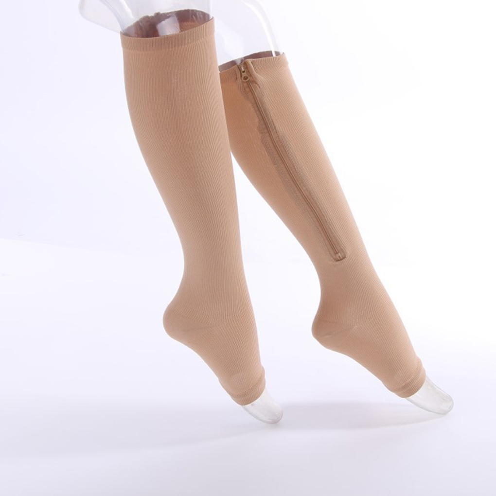 2019 NEW Nylon Zipper Compression Sock Leg Knee Support Open Toe Preventing Varicose Veins Stretch Socks