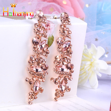 New Glass Rhinestone Earrings Imitation Crystal Fashion Jewelry Alloy For Women drop Earrings High grade Exquisite long Earrings
