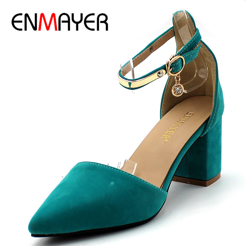 ENMAYER Summer Women Fashion Sandals Pumps Shoes Flock Ankle Strap Pointed Toe Square Heel Large Size 34-43 Black Beige Green  xiaying smile woman sandals summer square cover heel closed toe woman pumps buckle strap fashion casual hollow flock women shoes