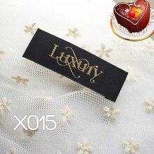 100 шт./лот высокое качество деревянный шаттл материал черная тканая этикетка логотип роскошный queen End папка аксессуары для одежды