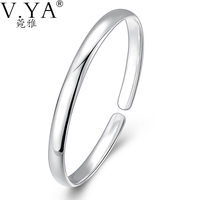 Adjustable 925 Silver Bangles For Women Jewelry Open Size Round 100 Pure Sterling S925 Solid Silver