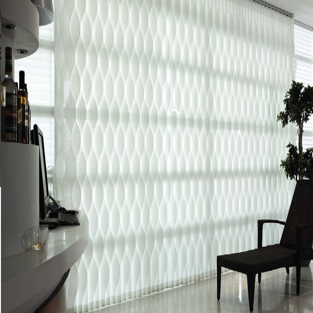 Manual Electric Curves S Wave Sunscreen Vertical Blinds Curtain Customize Sizes