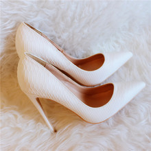Free shipping fashion women Pumps lady white snake python Pointy toe studd spikes high heels shoes size33-43 12cm 10cm 8cm