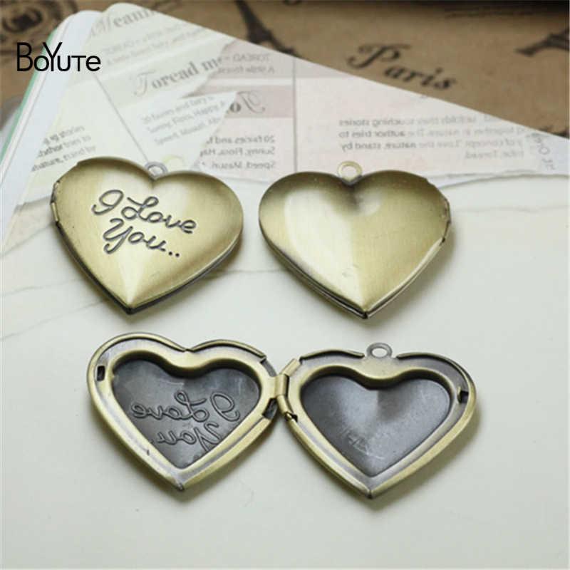 BoYuTe 10 pièces 6 couleurs 29MM pendentif coeur I Love You Love médaillon Vintage bijoux pendentif