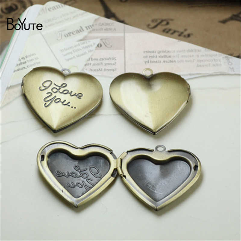 BoYuTe 10Pcs 6 สี 29 มม.จี้หัวใจ I Love You Love Locket Vintage เครื่องประดับจี้