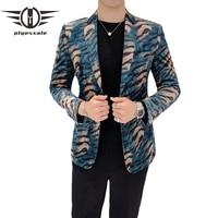 Plyesxale Leopard Blazer Men 2018 Slim Fit Mens Velvet Blazers Green Man Blazer Casual Suit Jacket Stage Prom Party Wear Q155
