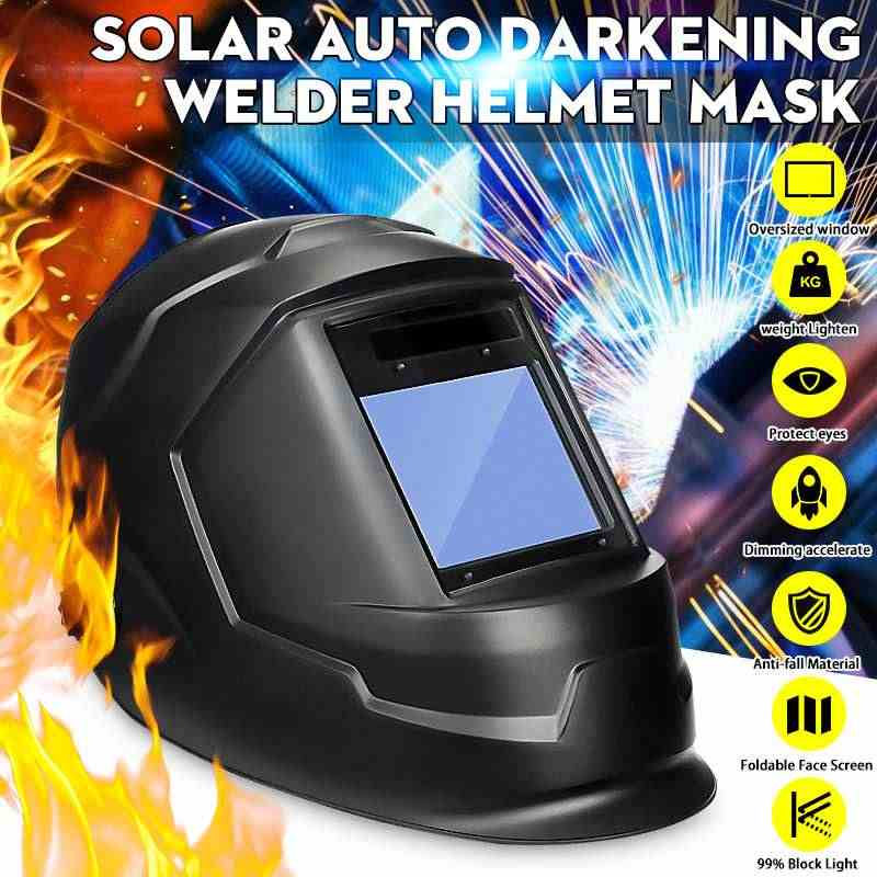 พลังงานแสงอาทิตย์Auto DarkeningปรับShadeช่วงDIN 9-13/Rest DIN 4 เชื่อมหมวกนิรภัยขนาดใหญ่พื้นที่ดูarc Tig Mig Welders Mask
