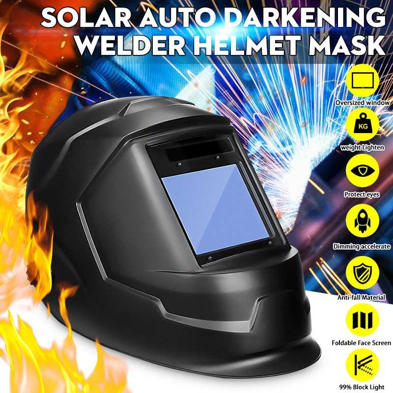 Solar Power Auto Darkening Adjustable Shade Range DIN 9-13/Rest DIN 4 Welding Helmet Large View Area Arc Tig Mig Welders Mask