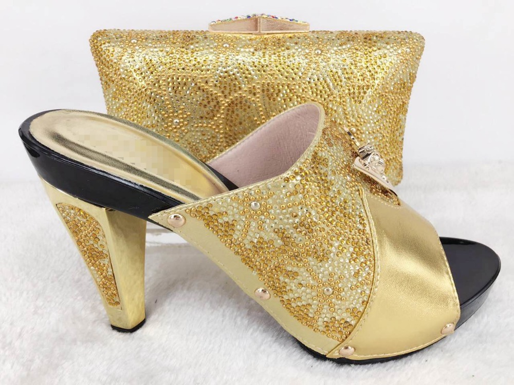 ФОТО High Quality African Designer Shoe And Bag Set To Match gold Color Italian Shoes With Matching Bags Set For Party
