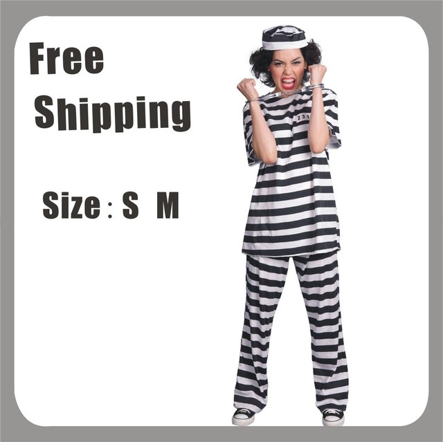 Noir / blanc rayé femmes adultes prisonnier condamné Jailbird Halloween Costume Cosplay uniforme Humoristique fantaisie  sc 1 st  Aliexpress : jailbird halloween costume  - Germanpascual.Com