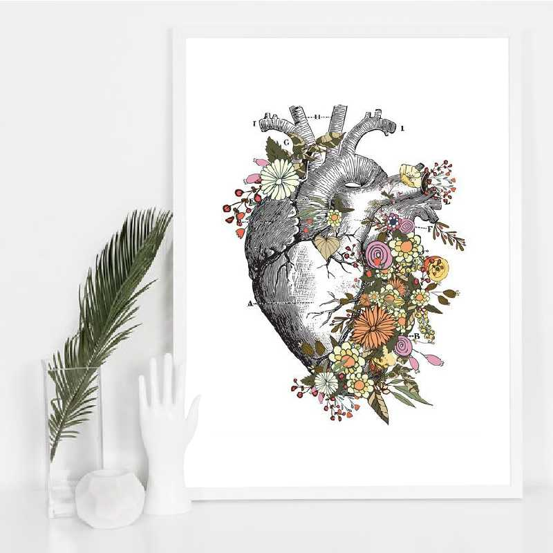 Vintage Anatomy Floral Heart Brain Wall Art Canvas Painting Medical Poster Decor