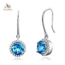 Peacock Star Dangle 14K White Gold Swiss Blue Topaz Earrings Natural 0.298 Ct Diamonds Bridal