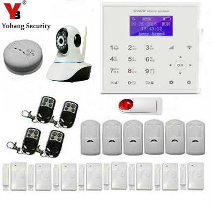 Yobang Security IOS/Android App Control Home Security Alarm System Wifi 720P IP Camera WIFI GSM SMS Alarm Kits Smoke/Fire Alarm wireless smoke fire detector for wireless for touch keypad panel wifi gsm home security burglar voice alarm system