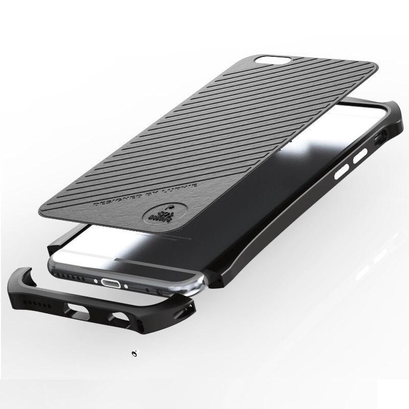 Цена за Лидер продаж роскошный нежный разрез металлический бампер для Apple iPhone 6 6S 4.7 чехол бампер с кожаной телефон обратно стикер аксессуары