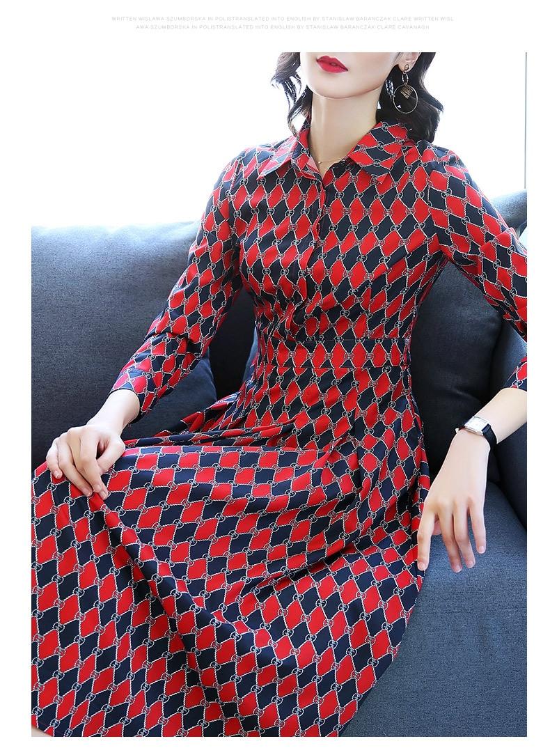 Taille Printemps Mosaïque D'impression Longue Contraste Haute 2019 Géométrique Nouveau Chemise Mince Piste Robe Mode Classique Revers Femelle 58ZcqRZSa