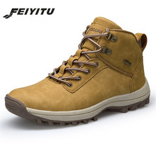 feiyitu Winter Martin Boot Casual Shoes Men Boots Botas Warm Leather Ankle Boots Autumn Flats Man Platform Leather Work Shoes цена
