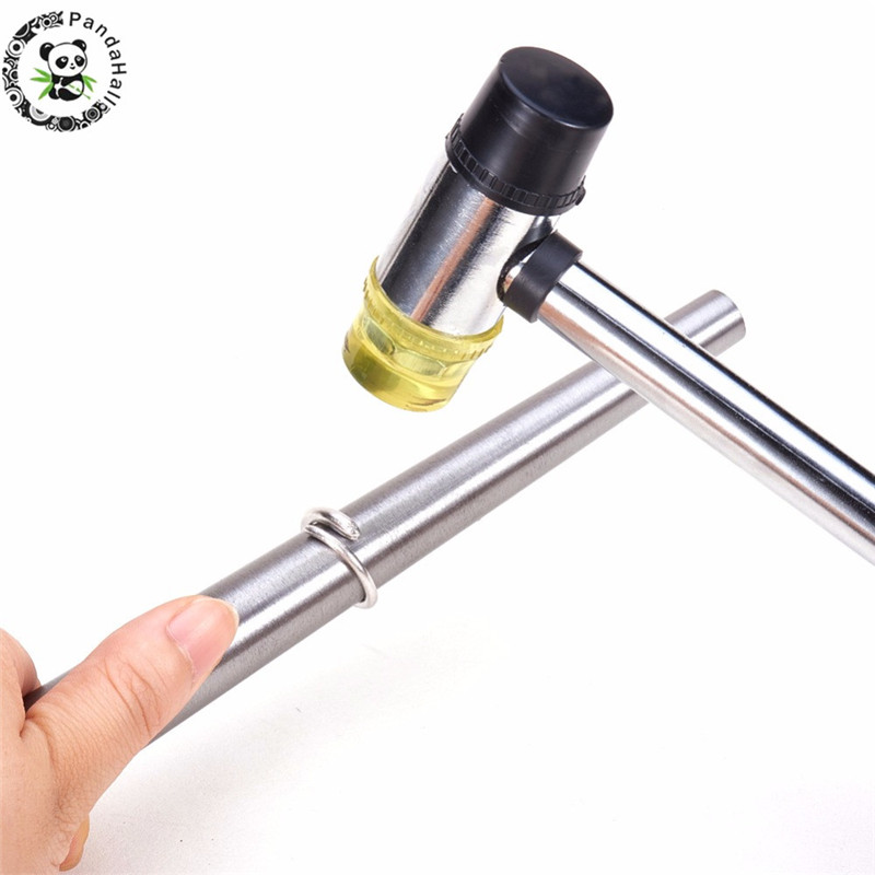 2pcs/set Jewelry Tools Iron Ring Enlarger Stick Mandrel Sizer Tools Equipment Installable Two Way Rubber Steel Handle HammersF80