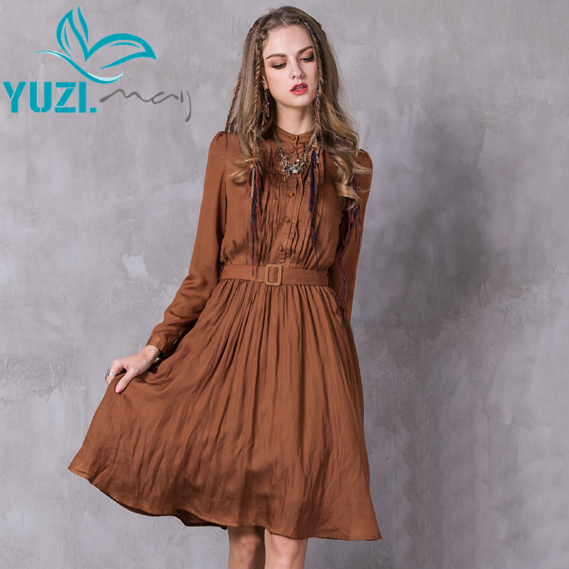 Women Dress 2017 Yuzi may Boho New Polyester Cotton Vestidos Stand Collar Belted A line Pleated
