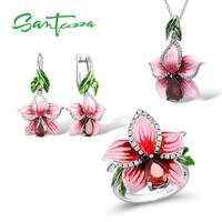Flower Jewelry Set Enamel Pink Flower Jewelry Cubic Ziconia Rings Earrings Pendant 925 Sterling Silver Jewelry Set for Women