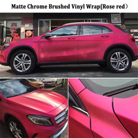 Hot Rose Red Chrome Brushed Vinyl Wrap Film with air release Metallic Brushed Alumium Foil For Car Wrapping :1.52*20M/Roll