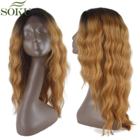 Ombre Blonde Synthetic Lace Front Wigs For Women GT4/GOLD# Long Wavy Lace Wigs Middle Part Kanekalon Lace Front Wig 150% Density