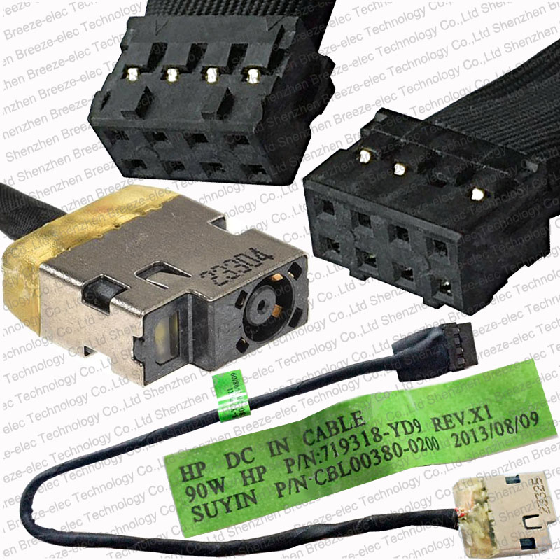 5st / lot Original Laptop DC Power Jack Kabelledning för HP Envy Touchsmart 15-serien 719318-YD9 CBL00380-0200b gratis frakt