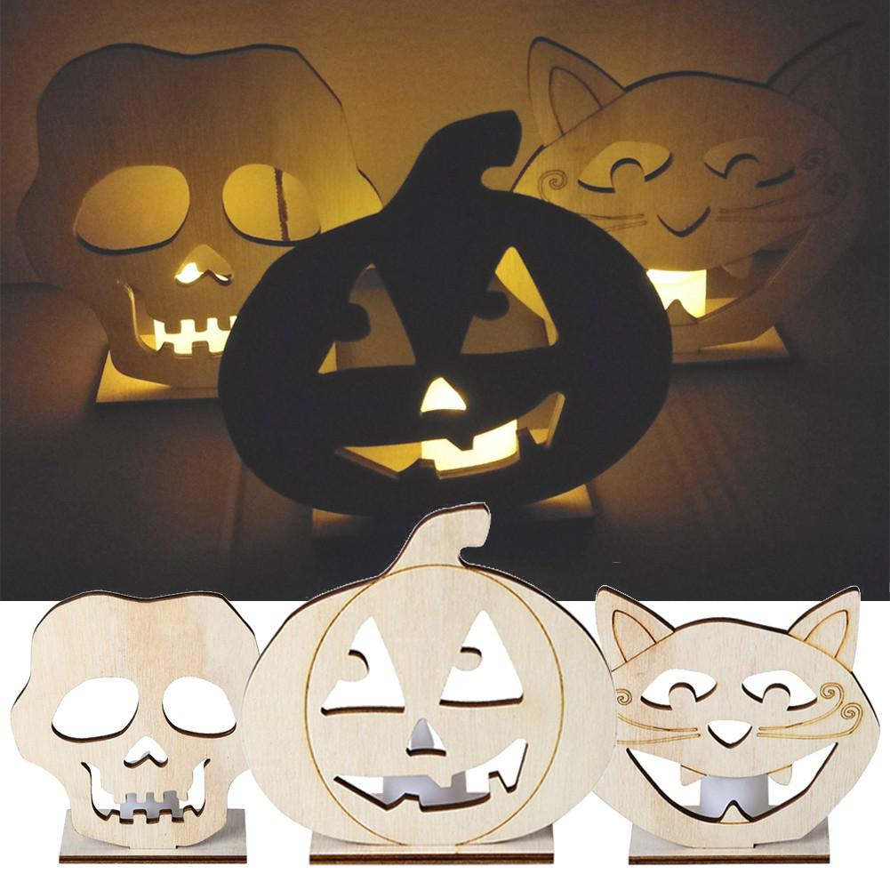 Wooden Skull/Pumpkin/Cat Shape LED Candle Light Decoration Home Craft 2019 Halloween Party Desk Lamp DIY Decal Lighting Supplies