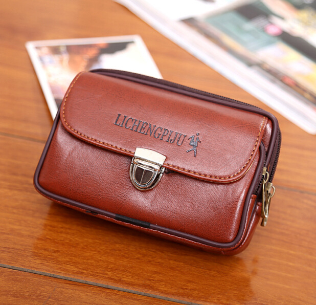 New Men Fanny Pack For Mobile Phone Male Brown Black Lock Zipper Coin Purse PU Leather Good Quality Bag Casual Waist Packs Bags
