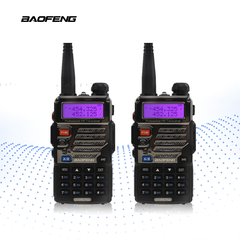 2 pcs/lot BaoFeng UV-5RE Plus Talkie Walkie 128CH Double Bande VHF et UHF Émetteur-Récepteur UV 5re + Plus Two Way radio Portable Interphone