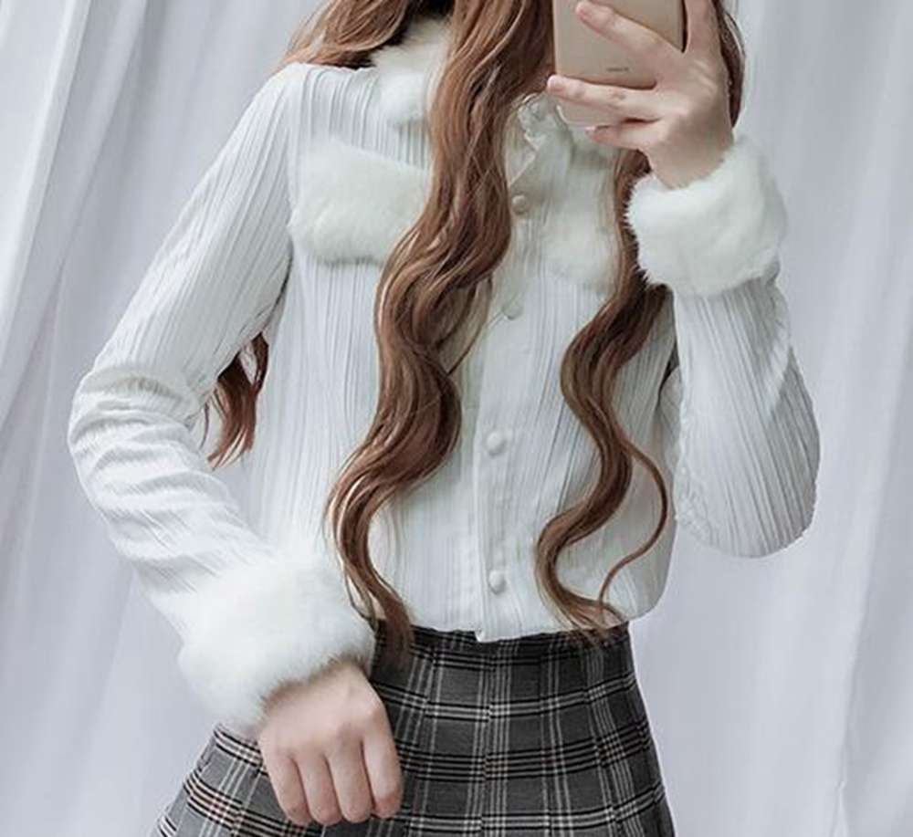 Women Real Rabbit Fur Collar Winter White Chiffon Blouse Shirt Tops