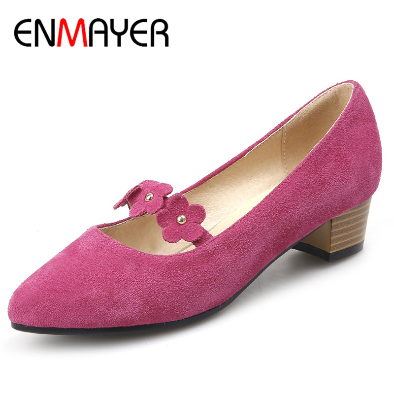ENMAYER Spring Autumn Women Casual Fashion Flock Pumps Shoes Pointed Toe Slip-On Square Heel Large Size 34-44 Black Pink Purple memunia 2017 fashion flock spring autumn single shoes women flats shoes solid pointed toe college style big size 34 47
