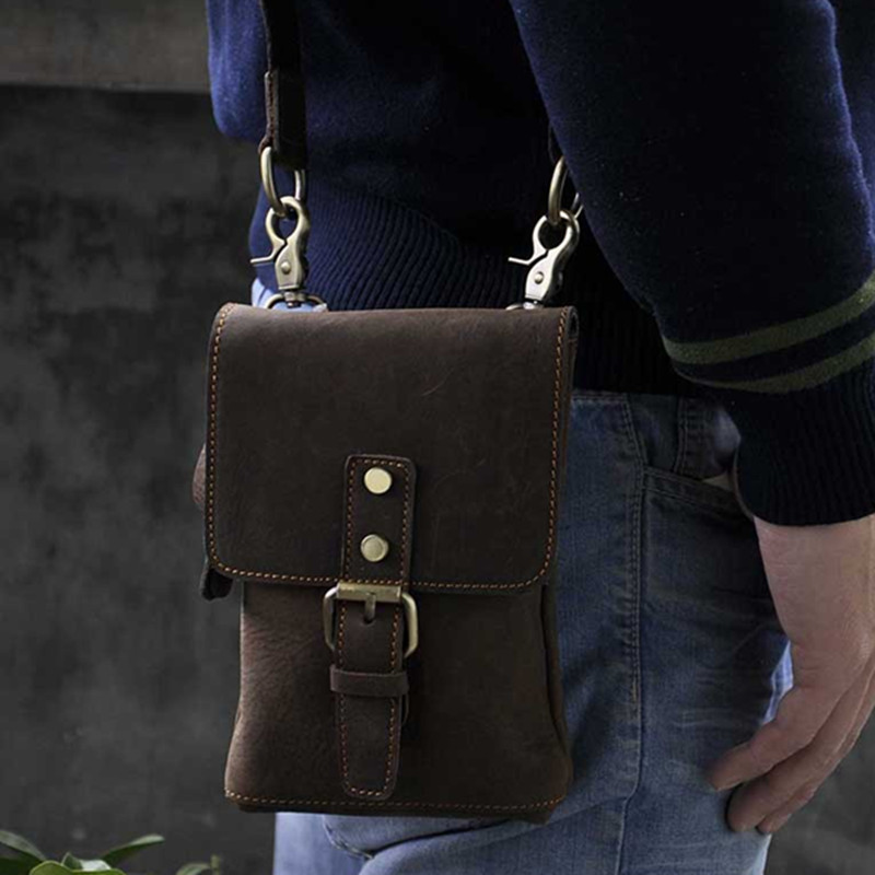 ФОТО Vintage Crazy horse leather Travel Waist Pack High quality Small Messenger Bags with Mobile Phone Bag For Man