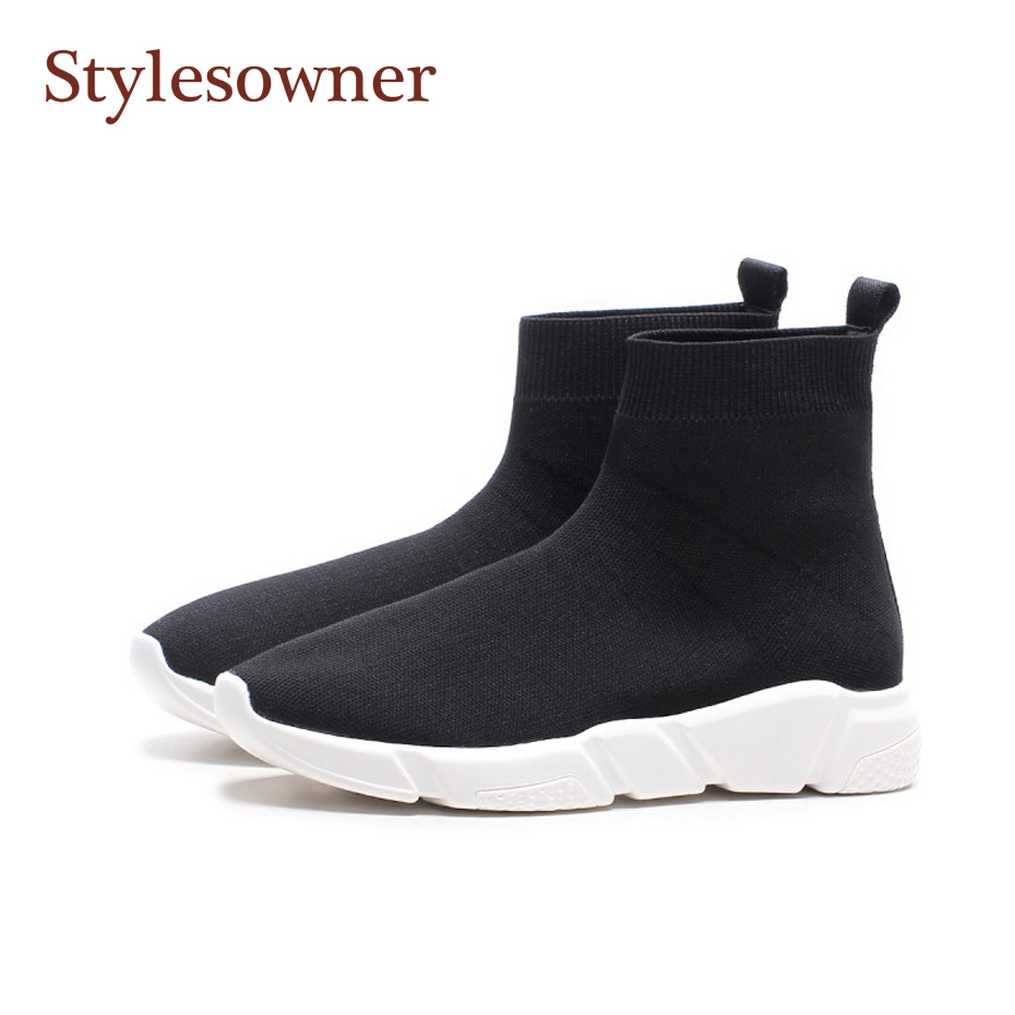Stylesowner 2018 Black women sock boots white sole platform wedge comfortable slip on stretch bootie short plush in winter bota pneumatic 3 positions 4 ports air hand switching valve page 5