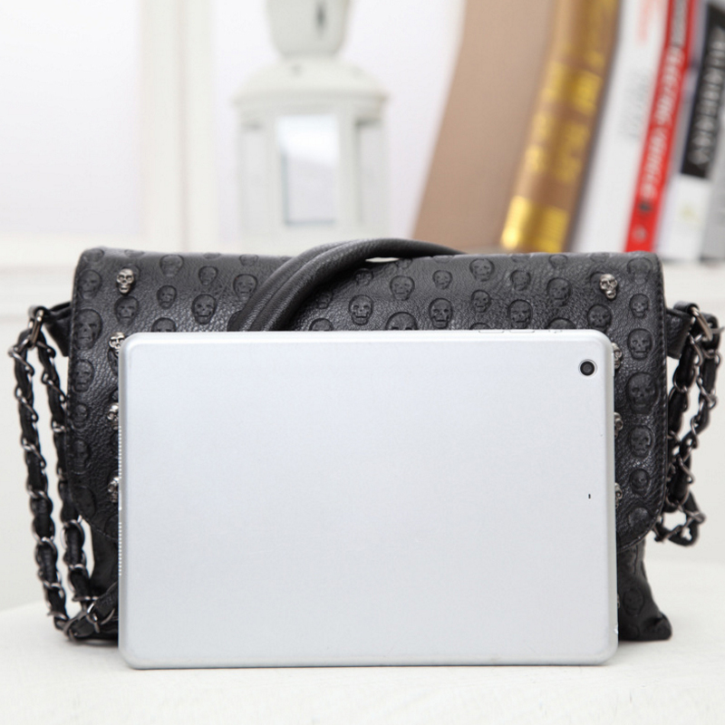 Buyuwant 2018 Summer new women's bag skull envelope shoulder bag rivet retro handbag gothic lady purse BM01-SB-kltxfg 5