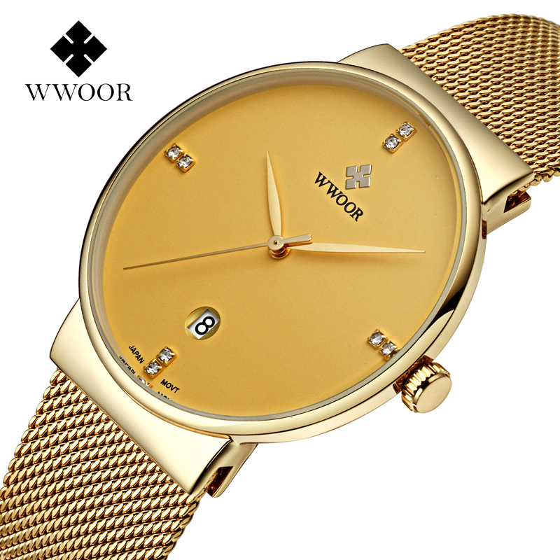 ФОТО WWOOR top brand luxury Gold Mesh watch men Fashion stainless steel quartz wristwatches ultra thin male clock relogio masculino