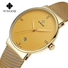 WWOOR top marca de lujo de Oro de Malla hombres del reloj de Moda de acero inoxidable relojes de pulsera de cuarzo ultra delgado reloj masculino del relogio masculino