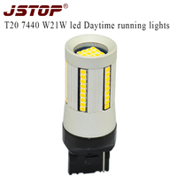 JSTOP Car Led Daytime Running Lights 12VAC High Quality Daytime Bulbs W21W Exterior Lamps T20 7440