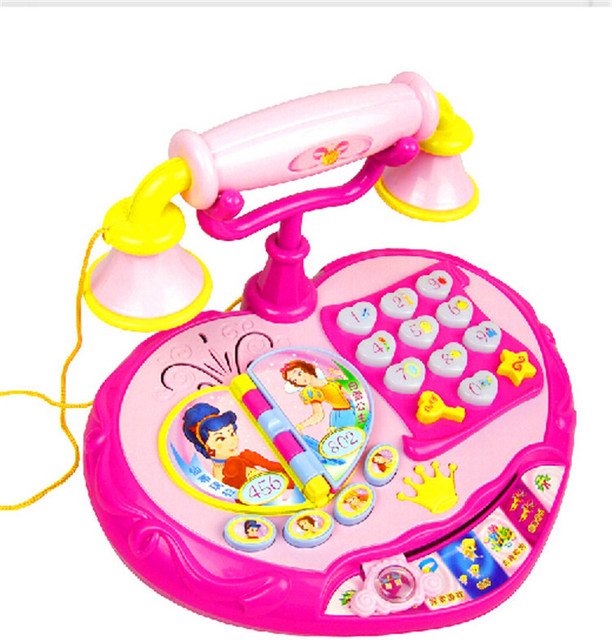 Tamanho grande princesa Eletrônico Brinquedo telefone Criança Música brinquedo telefone Máquina com Jogo do bebê brinquedos de Aprendizagem Educacional Melhor Presente