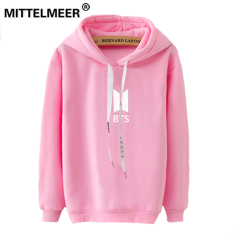 MITTELMEER 2019 Autumn winter Harajuku printed Hooded Sweatshirt BTS printing Solid color Hoodies girls women Christmas
