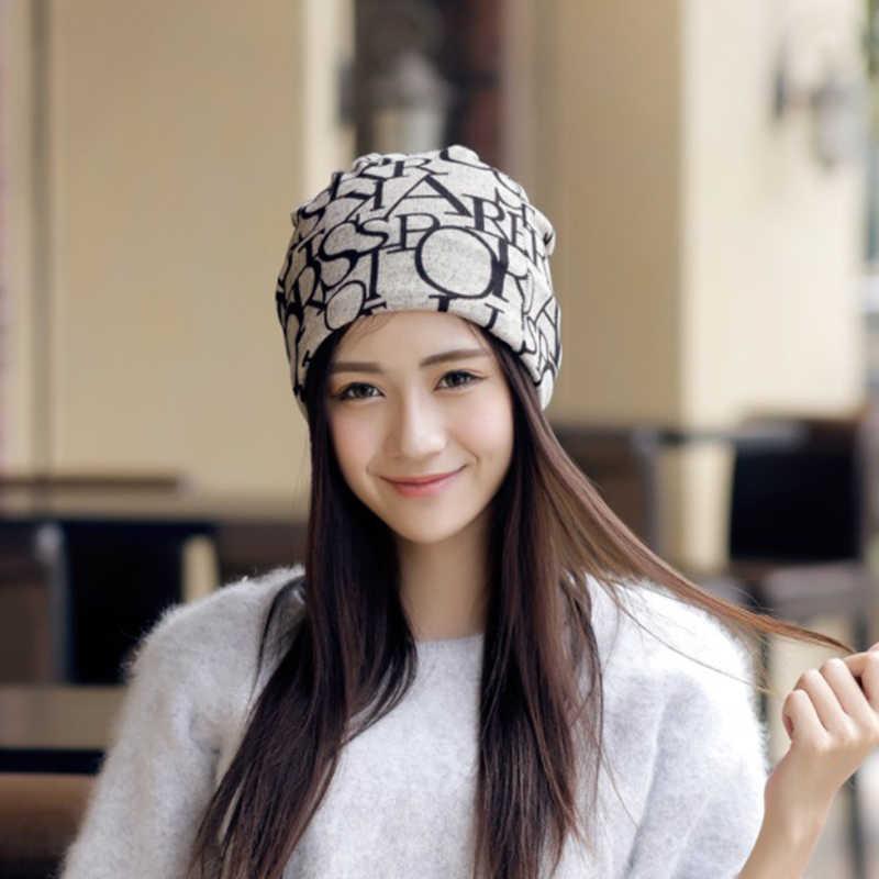 ... 2019 Multifunction Women Hats With Letter Prints Beanies Funny Warm  Ponytail Beanie Bonnet Femme Hat Women ... 701201db47f