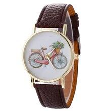 2017 Children's Watches Bicycle Pattern Cartoon Quartz Watch Leather Watchband Clock Ladies Wrist Watches Relogio Feminino