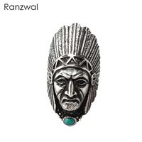 Ranzwal Punk Men Stainless Steel Rings Long Indian Chief Finger Ring Indian Jewelry US SIZE 7