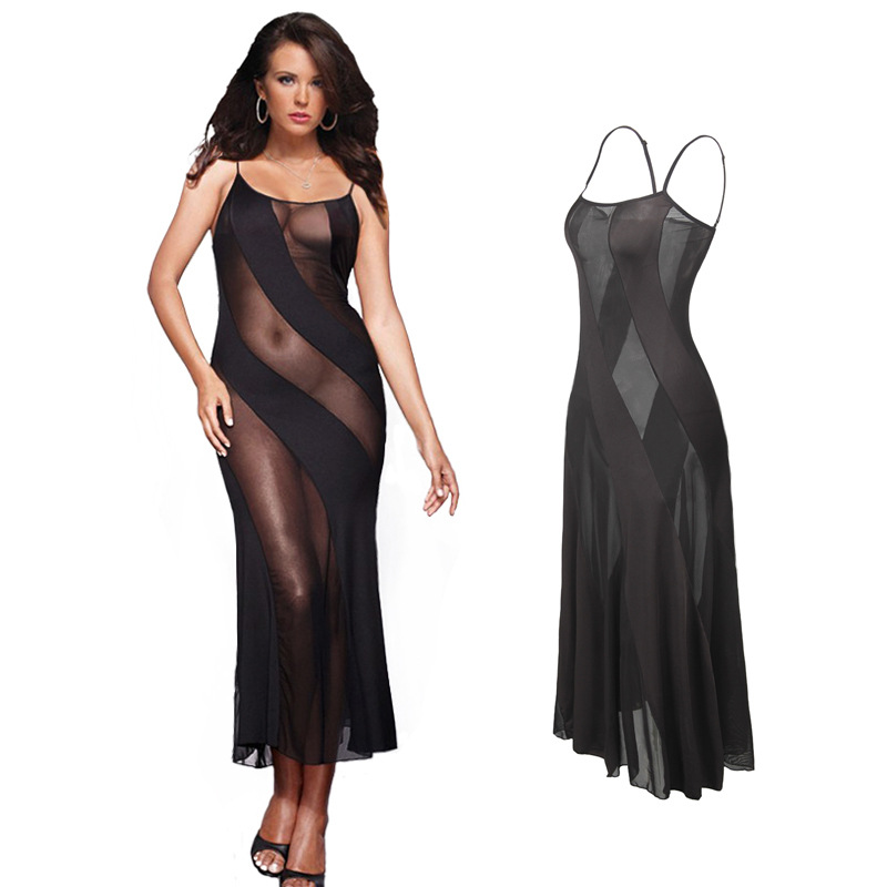 Hot New Black Plus Size <font><b>XXL</b></font> XXXL XXXXL 5XL 6XL <font><b>Sexy</b></font> <font><b>Lingerie</b></font> Nightgown Gown Long Babydoll Sleepwear,<font><b>Sexy</b></font> Dress For Sex Clothing image