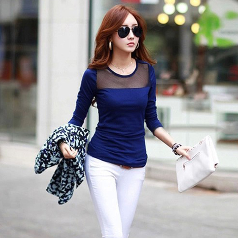 5ba1014bc17 Spring Autumn Women Stylish Pure Color Cotton Lace Mesh Patchwork T-Shirts  Girls Casual Style All-match Long Sleeve Tops Tees