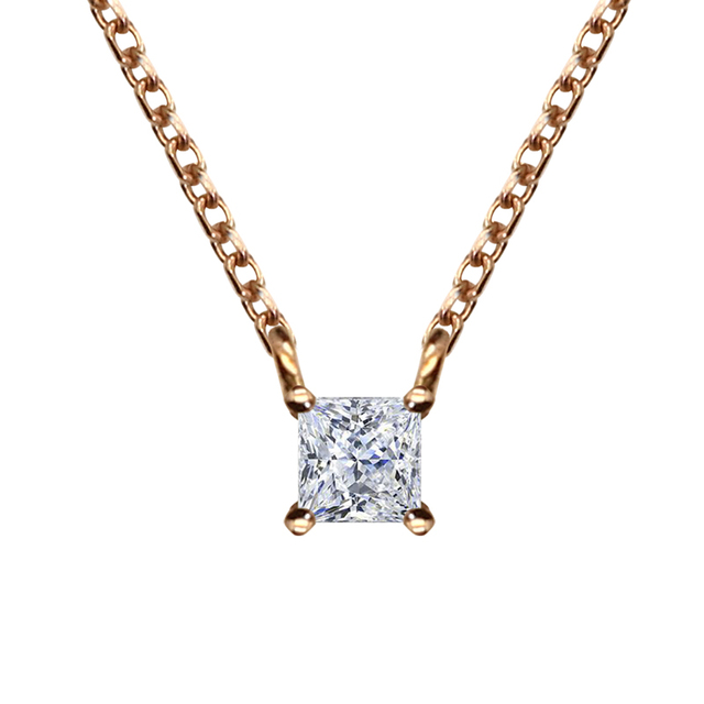 Clássico 0.1ct H/SI Diamante do Corte Da Princesa Solitaire Colar Pingente 18 K Sólidos Rose Gold Diamante Jóias Com 16' colar de Corrente