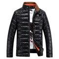 PU casaco de Inverno moda masculina quente jaqueta acolchoada de algodão dos homens homens casuais jaqueta corta-vento casaco de inverno estilo Europeu Y1025-95D
